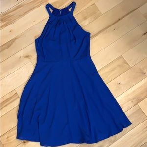 Express size 0 fit and flare blue dress